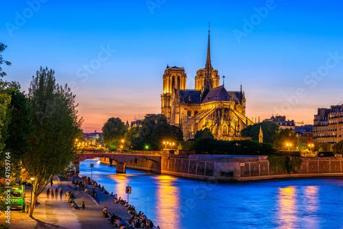 Fotografie, Obraz Night view of Cathedral Notre Dame de Paris, island Cite and river Seine in Pari