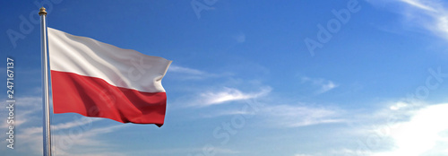 Photo Flag of Poland rise waving to the wind with sky in the background