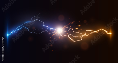 Canvas Print forces blue and yellow lightnings