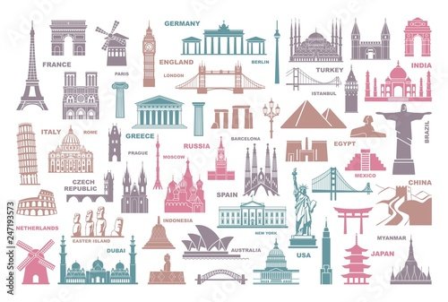 Obraz na płótnie Icons world tourist attractions and architectural landmarks