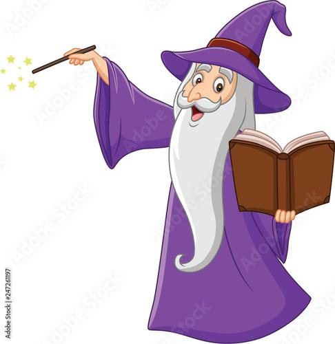 Billede på lærred Cartoon old wizard holding a magic book