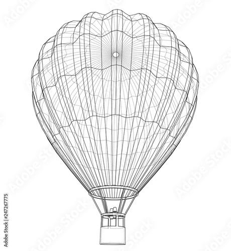 Valokuva Outline hot air balloon