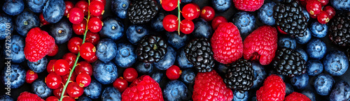 Fototapete Various fresh summer berries Background. Panorama. Top view. Strawberry, Raspberry, Red currant,  Blueberry and Blackberry