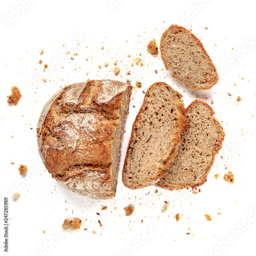 Sliced bread isolated on  white background Fotobehang