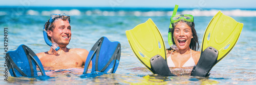 Snorkel vacation fun people swimming in ocean beach travel panorama banner lifestyle.