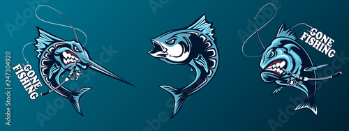 Photo Fishing set of ocean fish