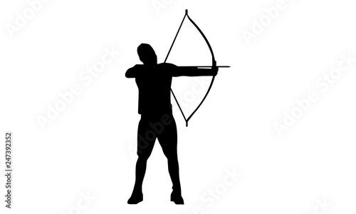 Photo picture of a male archer silhouette.