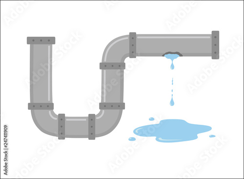 Obraz na plátně Leaking pipe with flowing water vector illustration