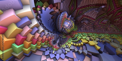 Fototapeta 3D abstract landscape, escher style cube shapes arranged into organic spherical shapes,  purple/pastel colored illustration