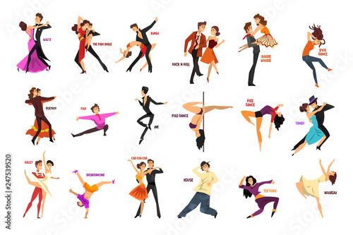 Professional dancer people dancing, young man and woman dressed in elegant cloth Fototapeta