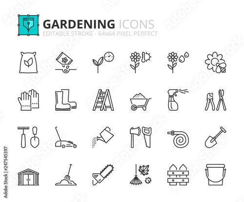 Tableau sur Toile Outline icons about gardening