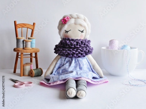 Canvastavla Handmade rag doll with white hair, wearing lovely dress and wool scarf