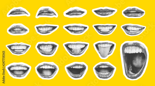 Fotografia Collage in magazine style with emotional woman's lip gestures set