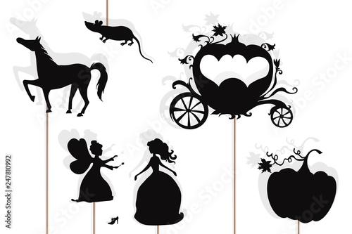 Fotografie, Obraz Cinderella storytelling, isolated shadow puppets.
