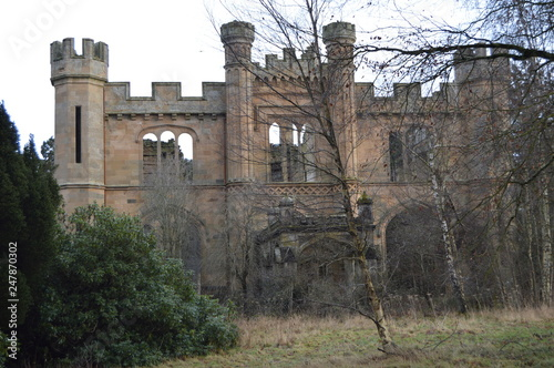 Obraz na plátne The striking ruins of Crawford Priory, Springfield, Cupar, Fife, extended in early 19th century