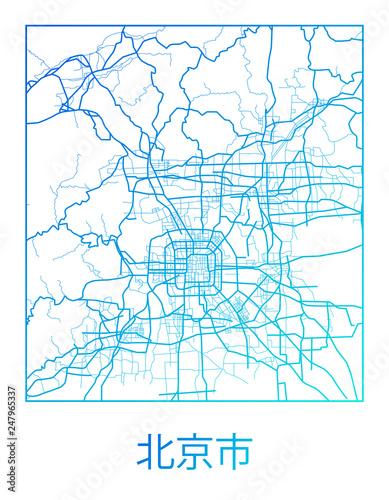Obraz na plátně Area map of Beijing, China. Beijing city street map