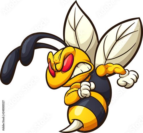 Fényképezés Angry hornet, wasp, or bee mascot clip art