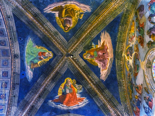 Fotografie, Tablou Four Gospel Writers Ceiing Santa Maria Novella Church Florence Italy