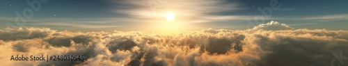 Foto Beautiful clouds, panorama of clouds, above the clouds, clouds from above, flyin