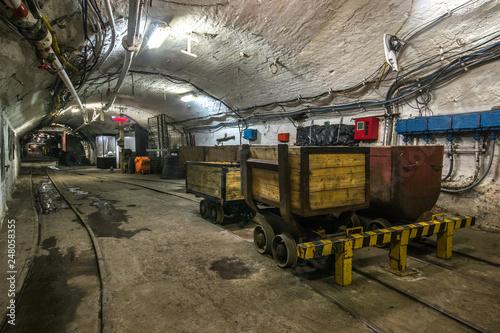 Obraz na plátně Illuminated, Underground Tunnel in the Mine
