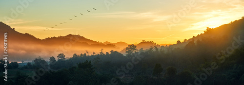 Obraz na plátne Panoramic view of forest and mountains, summer landscape with foggy hills at sunrise near coast Ngapali, Burma