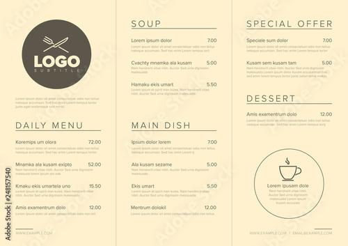 Fotografia Modern minimalistic restaurant menu template