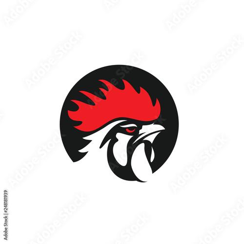 Canvas Print Rooster Logo Designs Concept, Chicken Head Mascot Logo Designs
