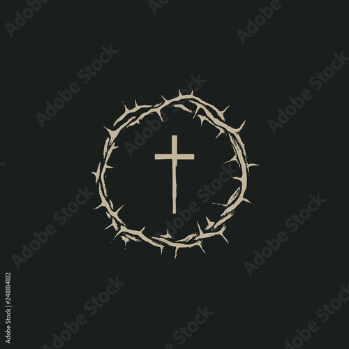 Stampa su Tela Vector Easter banner with crown of thorns and cross on the black background