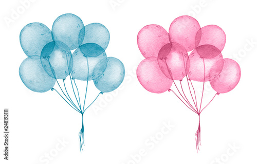 Foto Watercolor blue and pink balloons for happy birthday