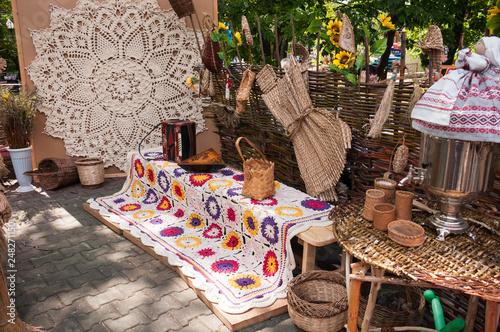 Tablou Canvas Russia, Khabarovsk, August 18, 2018: Folk handicrafts, needlework from natural m