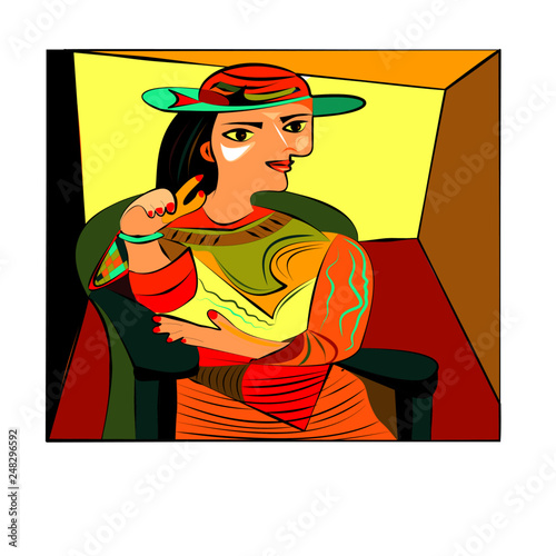Colorful abstract background, cubism art style, woman in armchair with hat