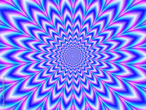 Fototapeta premium Crinkle Cut Pulse in Blue Pink i Violet / Cyfrowy abstrakcyjny obraz fraktalny z optycznie wymagającym psychodelicznym wzorem w kolorze niebieskim, różowym i fioletowym,