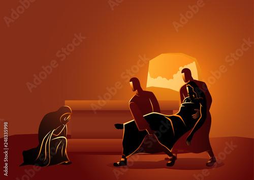 Jesus is placed in the tomb Fototapeta