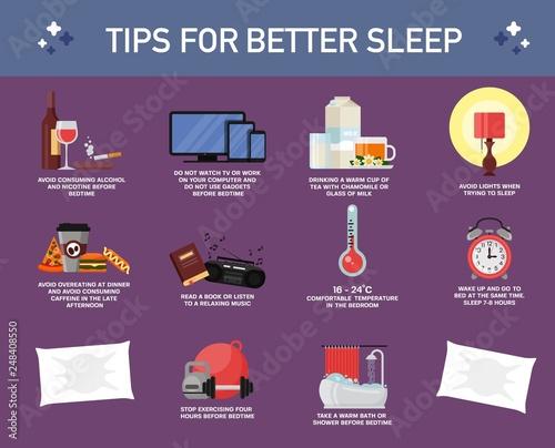 Tips for better sleep, vector flat style design illustration Fototapeta