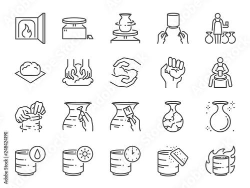 Pottery line icon set Fototapeta