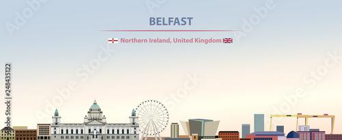Fotografija Vector illustration of Belfast city skyline on colorful gradient beautiful day s