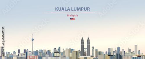 Photo Vector illustration of Kuala Lumpur city skyline on colorful gradient beautiful