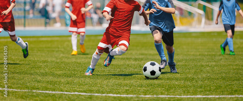 Canvas Print Football Soccer Players Running with Ball