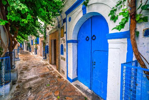 Fototapeta Hammamet Medina streets with blue walls. Tunis, north Africa.