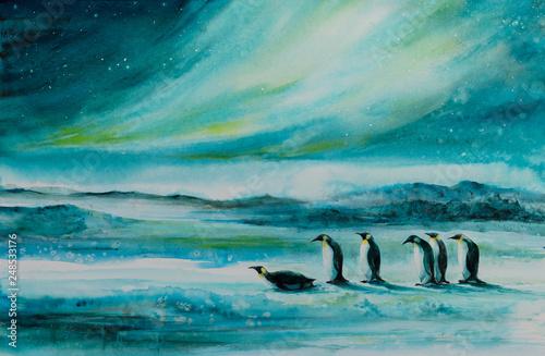 Canvas Print Penguins in ice desert landscape