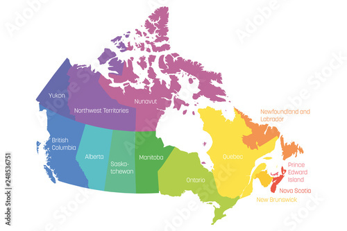 Obraz na plátně Map of Canada divided into 10 provinces and 3 territories