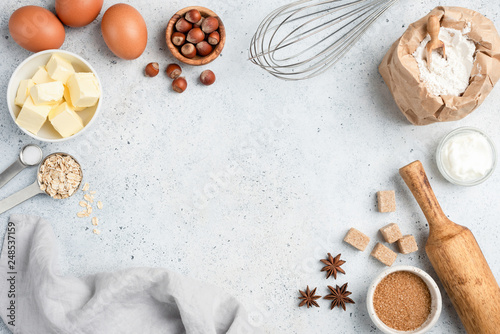 Photo Baking ingredients and utensils on concrete background