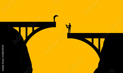 Obraz na plátne Plan ahead is the theme of this illustration of workmen inspecting a bridge that doesn't come together in the middle