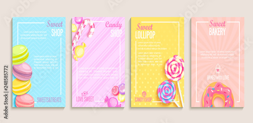 Carta da parati Set of sweet, candy and bakery shops flyers,banners