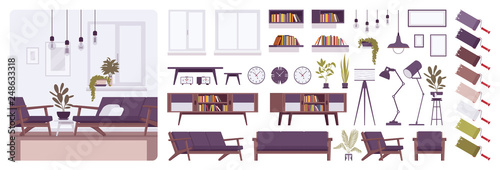 Fotomural Living room modern interior, home or office creation kit, lounge set with furniture, different constructor elements to build own design