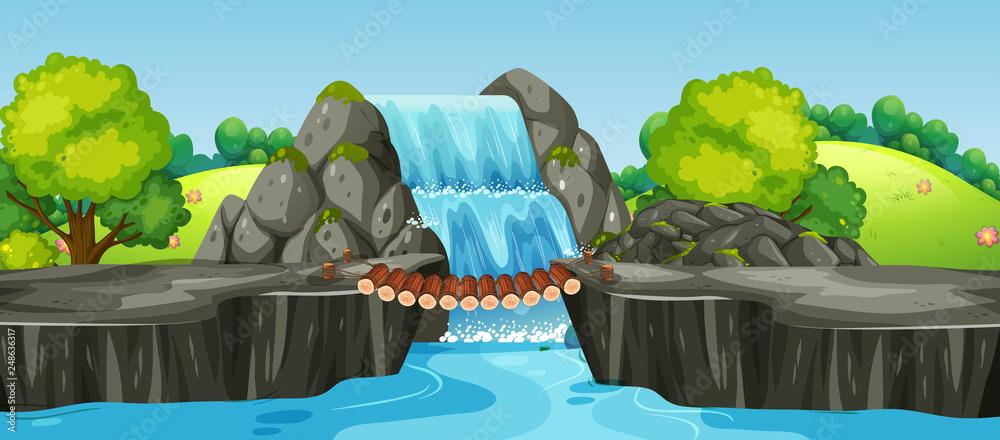 Wodospad krajobraz przyrody <span>plik: #248636317 | autor: GraphicsRF</span>
