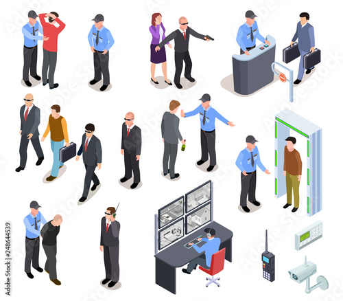 Photo Security system isometric concept