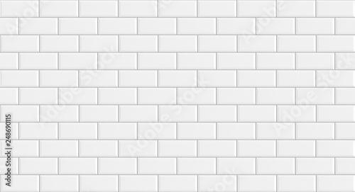 Fotografie, Obraz White rectangle mosaic tiles texture  background