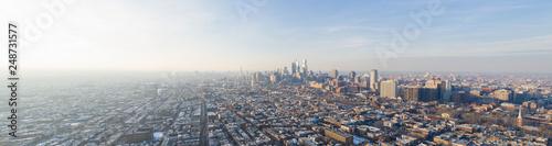 Obraz na plátně Aerial panoramic photo Downtown Philadelphia PA