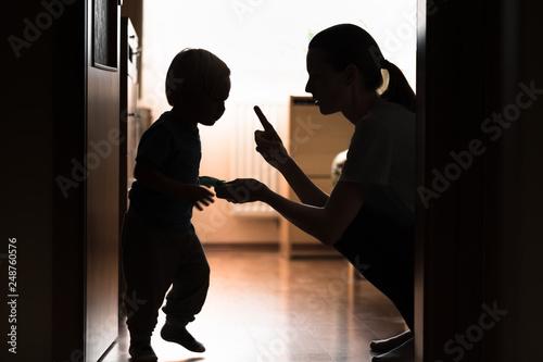 Canvas Print Mom disciplining her child.